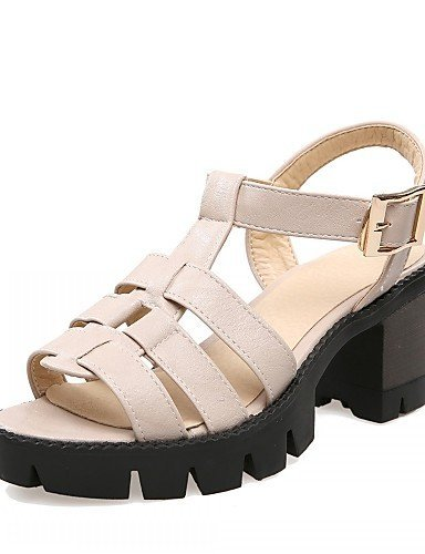 Peep Gray Toe gray Leatherette Shoes Beige Women's Evening Heel Black Sandals Chunky Party ShangYi amp; Career Office Outdoor amp; nYxaXU4Y