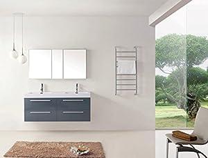 Virtu USA JD-50754-GR Modern 54-Inch Double Sink Bathroom Vanity Set with Polished Chrome Faucet, Grey