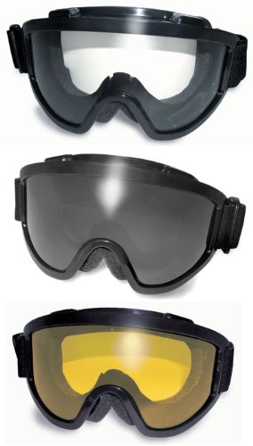 Three (3) Pairs Windshield Padded Goggles Clear, Smoke, and Yellow Lenses Fits Over Most Glasses 2mm Thick Pc Lens Anti-fog Coating Great for Paintball Airsoft ATV Motorcycle the Padding Keeps Sweat Out of Your Eyes Meets ANSI Z87.1 Standards for Safety Eyewear, Outdoor Stuffs