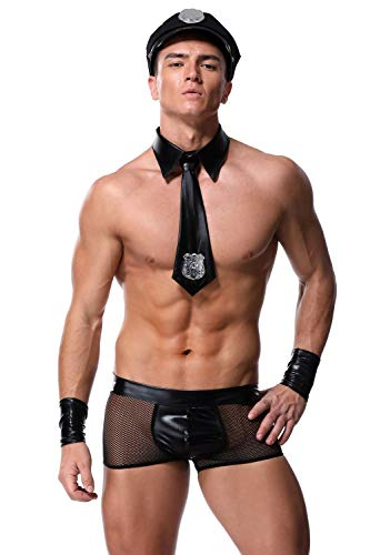 Mens Sexy Cop Costume - Men Sexy Leather Costumes Hot Police Officer Cosplay Costume Fancy Cops Dress Men Halloween Costume Police Uniforms Black