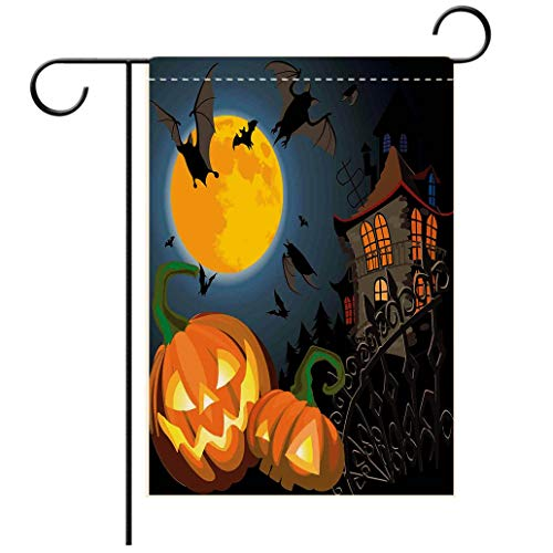 Polyester and linen Garden Flag Outdoor Flag House Flag BannerHalloween Decorations Gothic Halloween Haunted House Party Theme Decor Trick or Treat for Kids decorated for outdoor holiday gardens