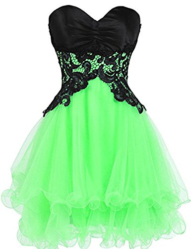 YIRENWANSHA Women's Short Lace Appliqued Tulle Elegant Satin Homecoming Dresses Strapless Prom Gowns YJW3 Bright Green Size 2