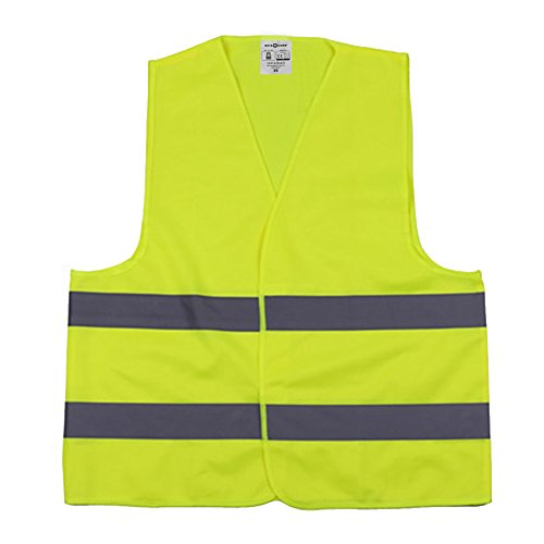 High Visibility Vest Safety With Silver Stripe Meets Ansi Isea Standards For Traffic   Yellow Xl