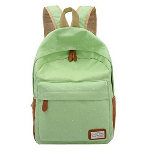 Unisex Womens Cute Polka Dot Canvas Travel Satchel Backpack School Bag Rucksack(Light Green)