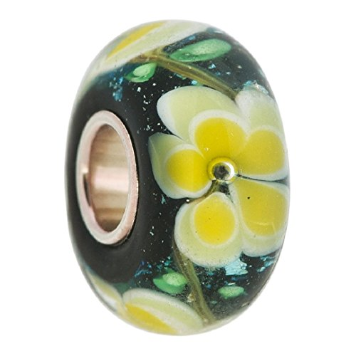 dark-blue-floral-yellow-flower-glass-sterling-silver-bead-fits-pandora-charms