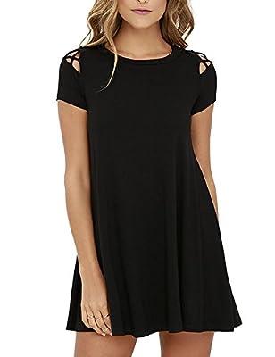 Blooming Jelly Women's Black Crew Neck Short Sleeve Cut Open Shoulder Criss Cross Pleated Swing Casual Shift Dress
