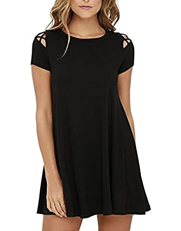 9f44b3786 BMJL Women s Dresses Cut Out Swing Casual Loose A Line Tunic Short Sleeve T  Shirt Flare