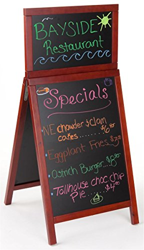 A Frame Chalkboard Sidewalk Sign with Wet Erase Board, Includes Separate Header Area, Double-Sided - Cherry Finish Wood by Displays2go