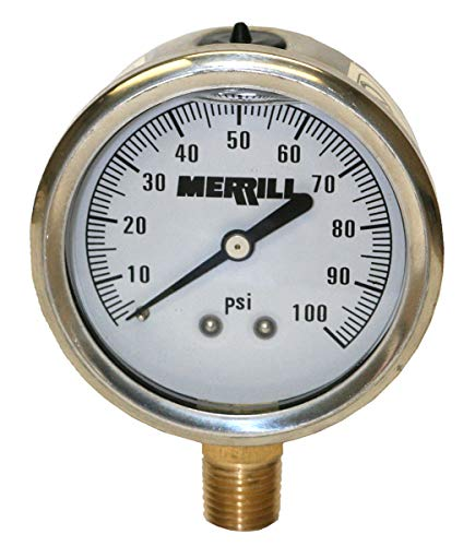 - Merrill MFG PGL25100 0-100 PSI Liquid Filled Stainless Steel Case Pressure Gauge, Brass/Stainless Steel