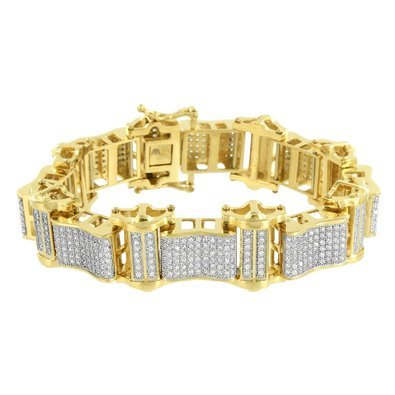 Mens Stainless Steel Bracelets 14k Yellow Gold Finish Lab Diamonds Brand New 9'' by Master Of Bling