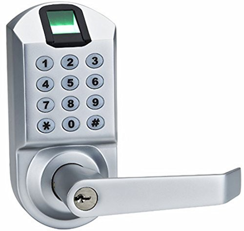 Ardwolf A1 No Drills Needed Keyless Keypad Biometric Fingerprint Door Lock, Unlock with Fingerprint Key Password - Satin Chrome by Ardwolf