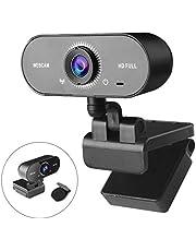 1080p Webcam met Microfoon Voor PC - THEGUS 120 ° brede Streamingwebcam met Gegevensbeschermingsklep, Ruisonderdrukkende Microfoon, Plug & Play, USB Webcam Voor Videogesprekken op Desktop en Laptop
