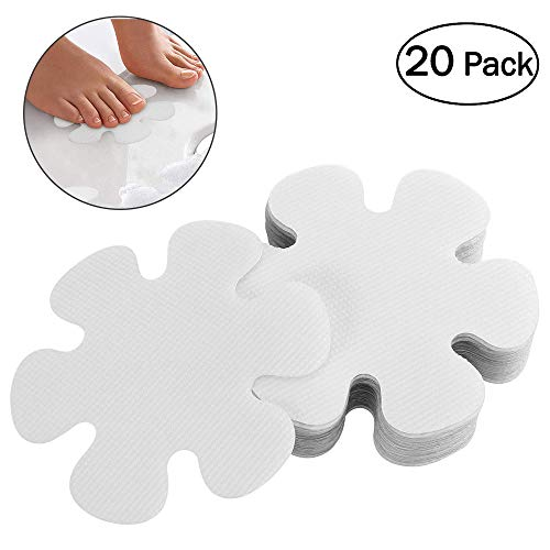 20pcs Bath Tub Stickers Non Slip, Dia 10cm Shower Floor Grips,Flower Shape Anti Slip Bath Stickers,Clear Grip Tape for Child,Clear Peva Anti Slip Decals for Bathroom, Kitchen, Stairs, Pool,Bedroom