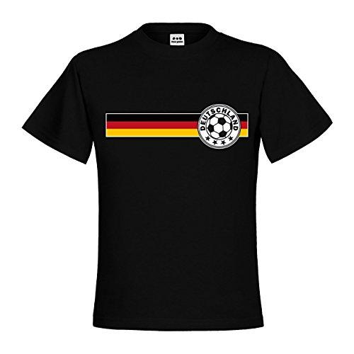dress-puntos Kids Kinder T-Shirt Fußballlogo mit 4 Sternen auf Deutschlandfahne Schwarz Rot Gold drpt-kt00356-4 Textil black / Motiv farbig Gr. 134/146