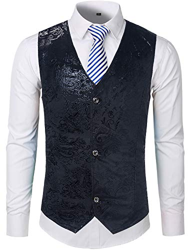ZEROYAA Mens Hipster Black Paisley Single Breasted Suit Dress Vest/Tuxedo Waistcoat Z49 Black Small