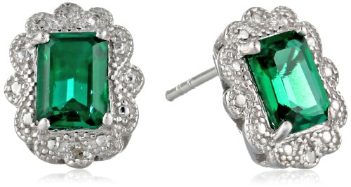 Emerald-Cut-Created-Gemstone-and-Diamond-Accent-Earrings-in-Sterling-Silver-5x7mm