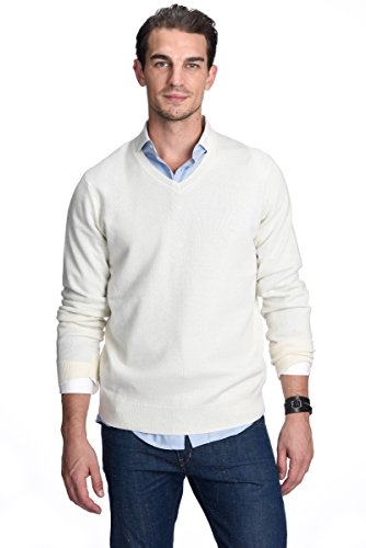 - State Cashmere Men's 100% Pure Cashmere Essential Sweater V-Neck Long Sleeve Pullover (X-Large, White)