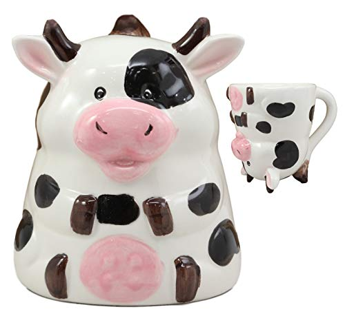 Ebros Topsy Turvy Ceramic Holstein Bovine Cow Smart Coffee Mug Drink Cup 11oz Animal Farm Cows Decor Collectible Kitchen Accessory For Drinking Party Hosting Kitchen Home Decor Perfect Gift Idea