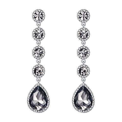 - BriLove Wedding Bridal Dangle Earrings for Women Elegant Crystal Teardrop Chandelier Earrings Grey Black Silver-Tone