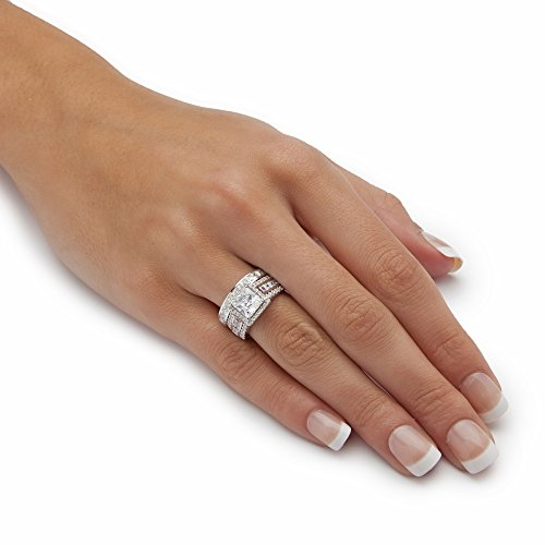 Platinum over Sterling Silver Princess Cut and Round Cubic Zirconia 2 Piece Halo Bridal Ring Set Size 10