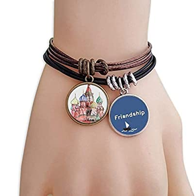 Grand Kremlin Palace Moscow Russia Friendship Bracelet Leather Rope Wristband Couple Set Estimated Price -