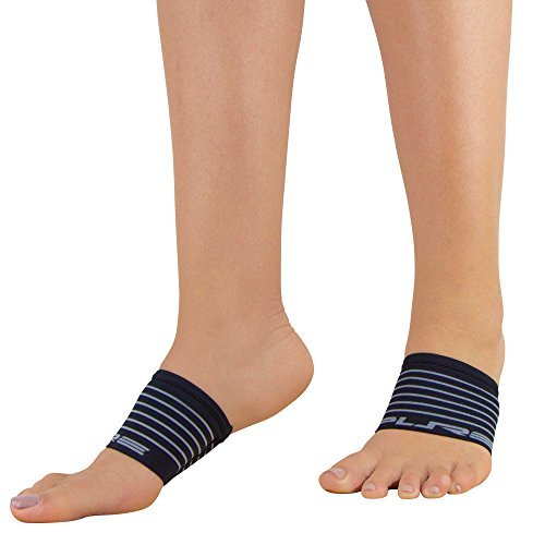 Arch Supports - Compression Supports, Pain Relief - Relieve Plantar Fasciitis, Heel Pain - Support Weak and Flat Arches - Copper Compression Arch Foot Sleeve Sock (L, Black-Stripes)
