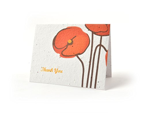 Bloomin Thanks A Bunch Seed Paper Greeting Cards - Poppy {8 Pack}