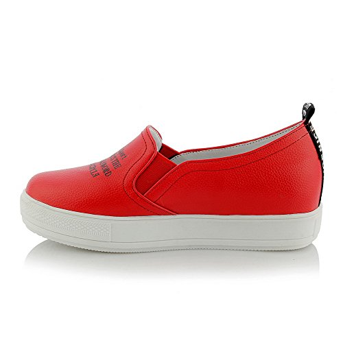 Pull Odomolor Heels Closed Red Toe Color Round Women's Shoes Assorted On Low Pumps qprwEXFpn