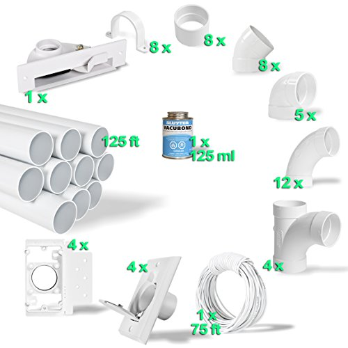 Central Vac Kits (Central Vacuum 4-Inlet Installation Kit & 125 feet of Pipe All in a Box)