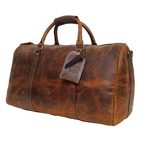 (Leather Duffel Bags For Men Women - Airplane Underseat Carry On Luggage By Rustic Town)