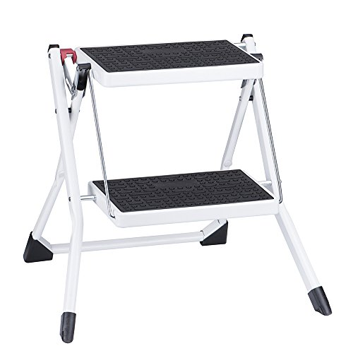 Delxo Step Stool Stepladders Lightweight White Steel Folding Step Ladder with Handgrip Anti-slip Sturdy and Wide Pedal Steel Mini-Stool 250lbs(WK2031D)