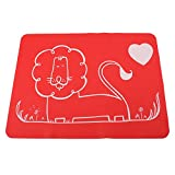 Bystar 4 Pack Silicone Reusable Lion Childrens Placemats Dining Table Mat Waterproof Slip-resistant Heat Insulation Pad