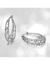 Sterling Silver Filigree Hoop Earrings