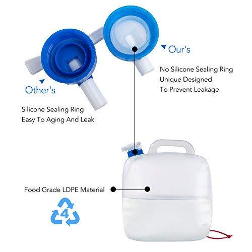 Contenedor de agua de grado alimenticio port/átil y plegable sin bisfenol ideal para el transporte y almacenamiento de agua para uso en exteriores barbacoas acampadas senderismo escalada etc 5L//1.25Gal