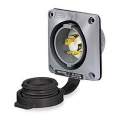 Hubbell Wiring Systems HBL2725SW Twist-Lock Watertight Safety Shroud Flanged Inlet, 30 amp, 3-Phase 250VAC, 3-Pole, 4-Wire Grounding, L15-30P, Gray by Hubbell Wiring Systems (Image #1)