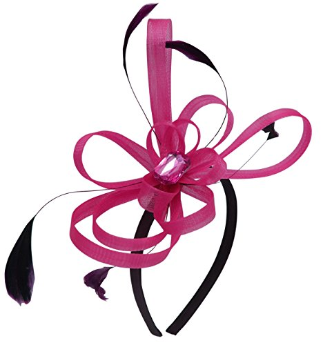 Aurora Collection Fascinator with Loops and Gem in Pink, Size: One Size Black / Aurora Pink