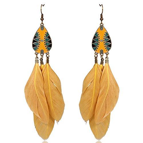 40129dcdc711 El servicio durable Dana Carrie 3Los aretes de pluma fina bohemia retro  orejas mujer joyas de