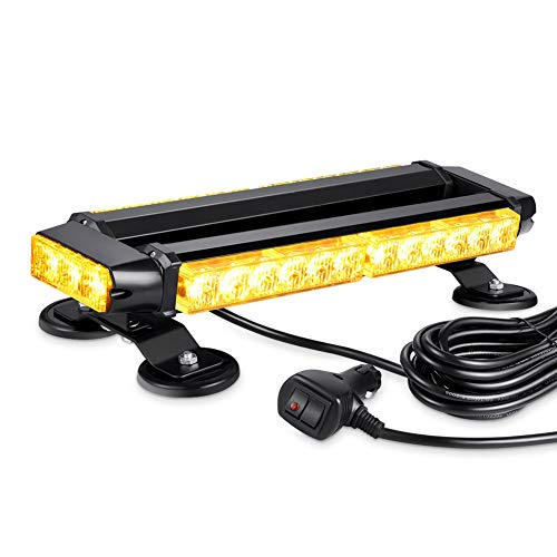 - AT-HAIHAN Amber Mini Lightbar Rooftop Emergency Hazard Warning Strobe Light w/Four Strong Magnetic Base, 30W LED, IP65 Waterproof for Snow Plow, Trucks or Construction Vehicles