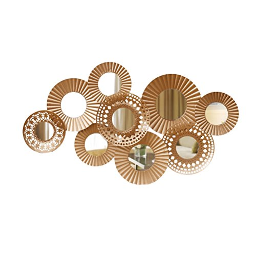 ZI LIN SHOP- Wrought Iron Wall Decoration Nordic Wall Mirror Model Room Living Room Restaurant Background Wall Decoration Pendant rug ( Color : Gold ) by Shoe rack