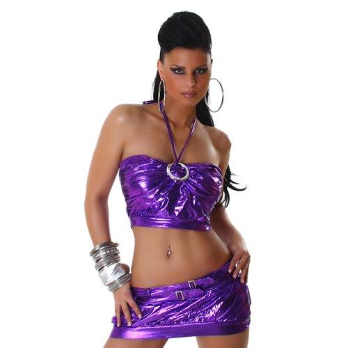 Sexy GoGo ensemble jupe + haut licou en similicuir aspect mouill d'une taille 34-38 divers. Couleurs Violet
