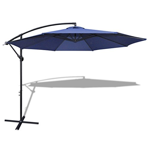 11' Offset Hanging Patio Umbrella Sun Shade Free Standing Outdoor Parasol Market Umbrella with Push Button Tilt and Crank (Blue)