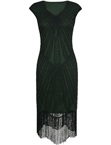 Kayamiya Women's Retro 1920s Inspired Beaded Art Deco Fringe Lace Flapper Dress L Green (The Roaring 20s Fashion)