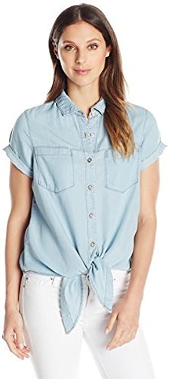 Khakis /& Co Women Womens Short Sleeve Denim Tie Front Shirt