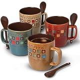 Mr. Coffee Cafe Americano 8 pcs 14 oz Mug Set with Spoons, Assorted Designs (78757.08)
