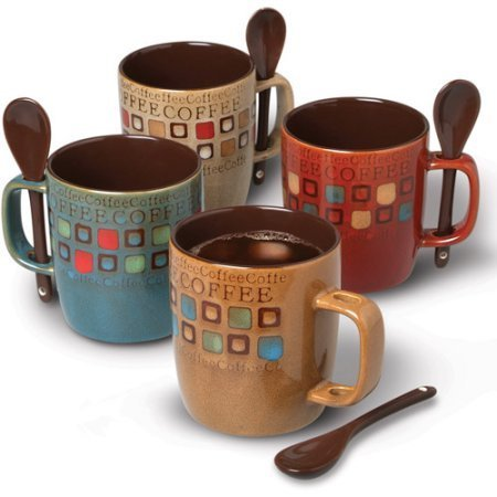 Mr. Coffee Cafe Americano 8 pcs 14 oz Mug Set with Spoons, Assorted Designs (78757.08)