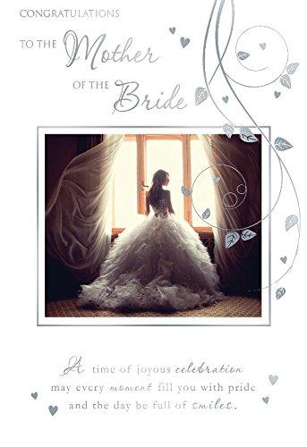 Felicidades para la madre de la novia e instrucciones para hacer vestidos tarjeta de diseño de