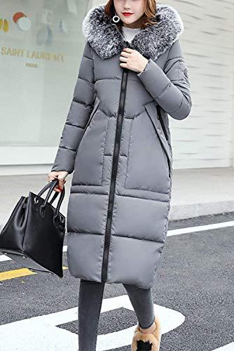 Largos Betrothales Parka Outerwear Elegantes Grau Abrigo De Manga wqf5W10