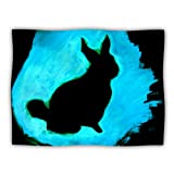 Kess InHouse Theresa Giolzetti ''Blue Moon Bunny'' Aqua Paint Pet Blanket, 60 by 50-Inch