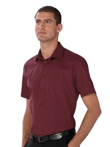 pflegeleichtes körperbetontes Kurzarm Stretch-Hemd , Farbe:Port;Größe:S
