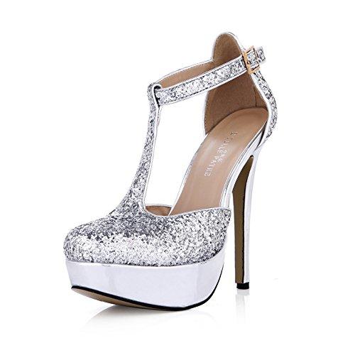 chaussures de mariées hauts étanches argentées avec chaussures célibataires talons Femmes nouvelles à mariage vqB100TW